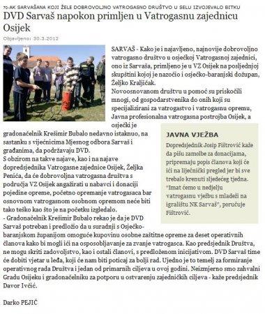 GLAS SLAVONIJE: DVD Sarvaš napokon primljen u Vatrogasnu zajednicu Osijek    Kategorija: DVD Sarvaš