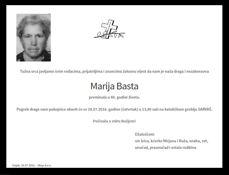 """Photo of POSLJEDNJI POZDRAV """" MARIJA BASTA"""""""