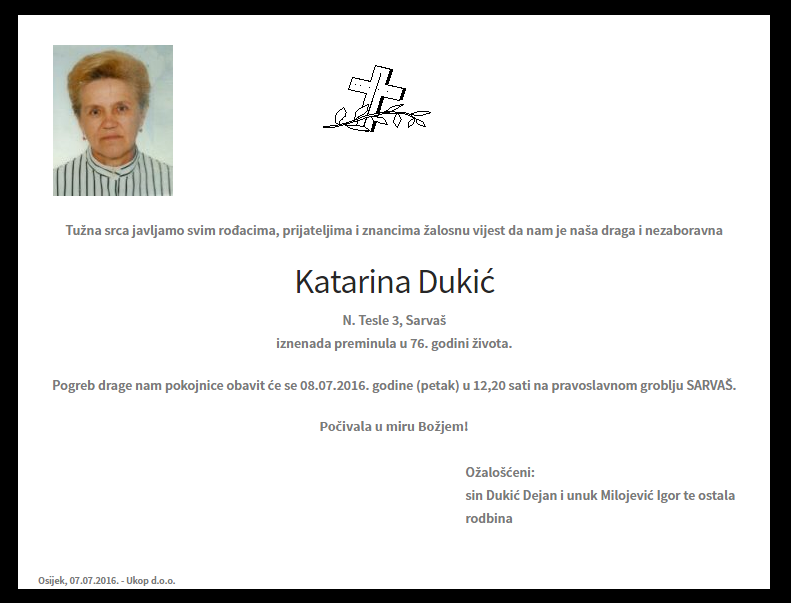 "Photo of POSLJEDNJI POZDRAV "" KATARINA DUKIĆ"""