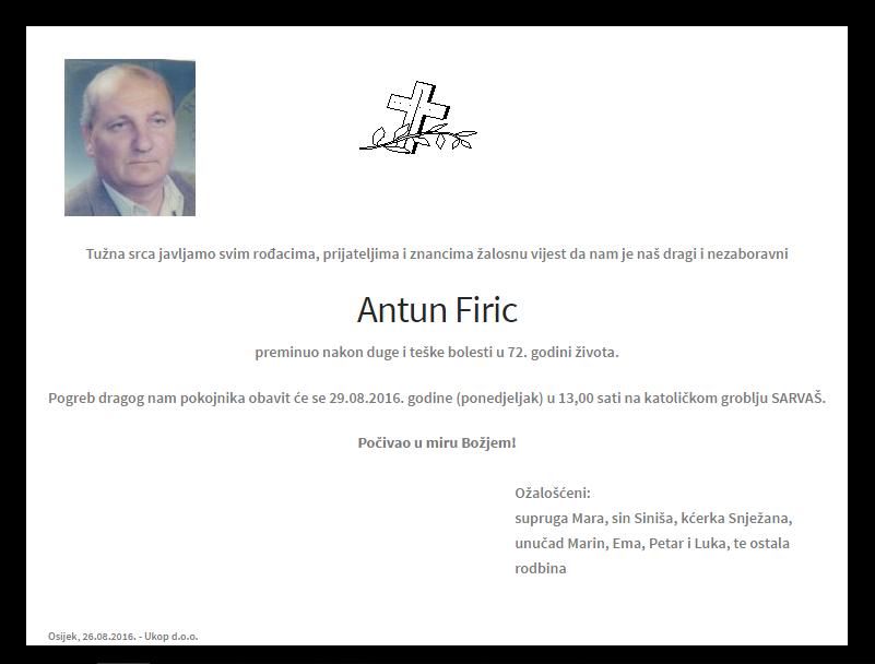 "Photo of POSLJEDNJI POZDRAV "" ANTUN FIRIC """