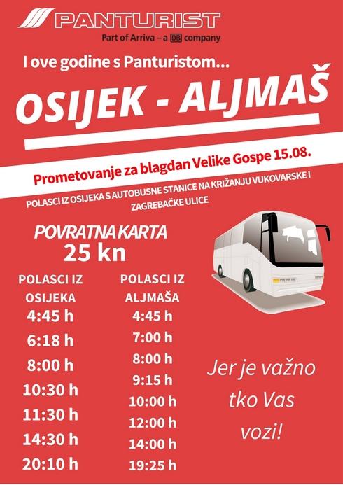 Photo of Panturist: Osijek-Aljmaš prometovanje za Veliku Gospu