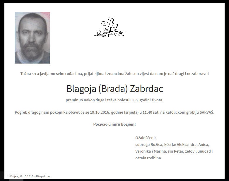 "Photo of POSLJEDNJI POZDRAV "" BLAGOJA ( BRADA) ZABRDAC """