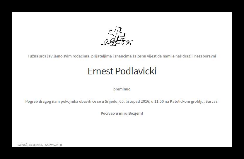 """Photo of POSLJEDNJI POZDRAV """" ERNEST PODLAVICKI """""""