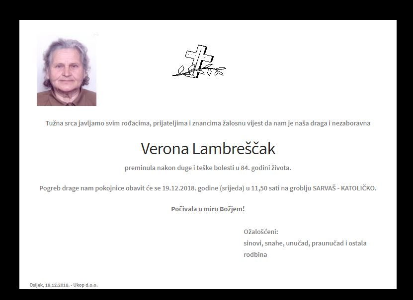 "Photo of POSLJEDNJI POZDRAV "" VERONA LAMBREŠČAK"""