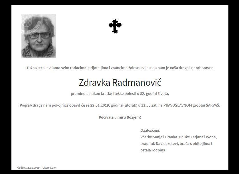 """Photo of POSLJEDNJI POZDRAV """" ZDRAVKA RADMANOVIĆ"""""""