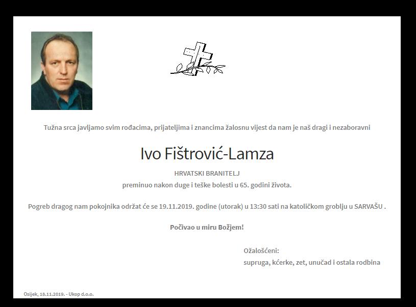 """Photo of POSLJEDNJI POZDRAV """"IVO FIŠTROVIĆ – LAMZA """""""