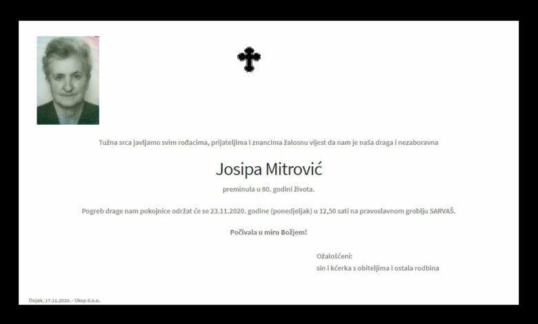 "Photo of POSLJEDNJI POZDRAV "" JOSIPA MITROVIĆ"""